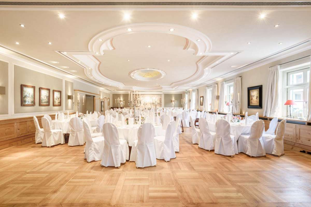 The stylishly decorated banqueting hall