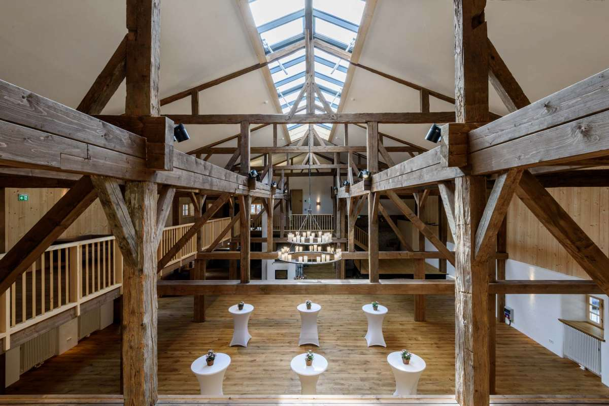 Spacious event location in between historical timber framing